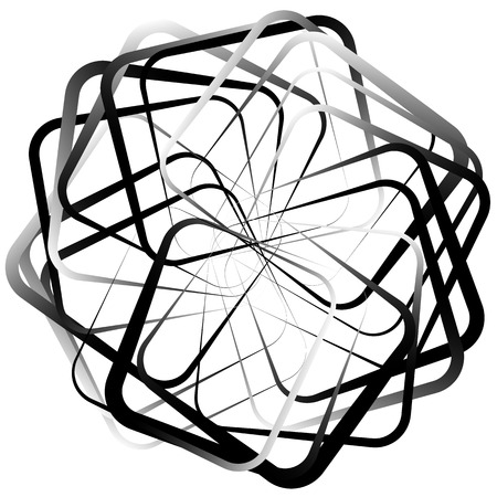 Abstract spirograph like shape with rotating squares, monochrome twirling design element Illustration
