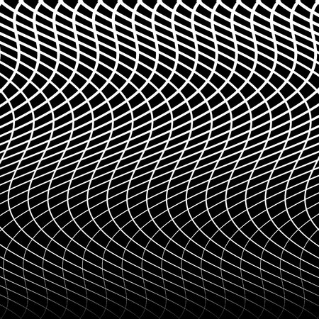 criss: Abstract grid, mesh of wavy, distorted lines pattern. Black and white, monochrome vector texture.