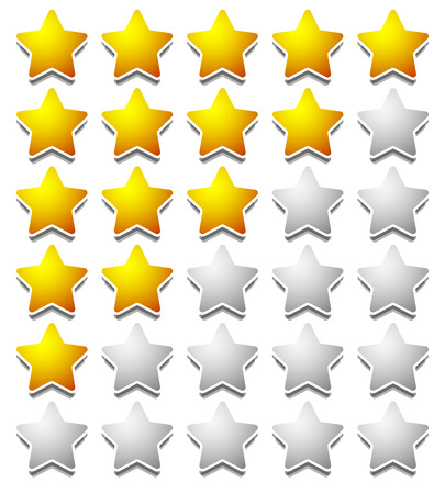 five: Star rating template from initial zero to 5 stars.
