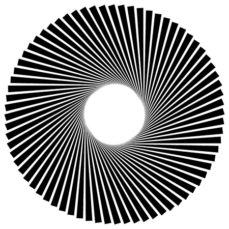 pointed: Radiating, radial lines with spiral, vortex effect. Rotating spiky, pointed lines. Abstract vector element. Illustration
