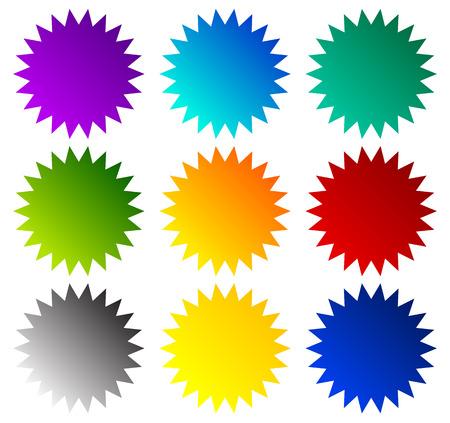 バッジ, スター バースト, 価格フラッシュ図形。ベクトルの図。  イラスト・ベクター素材