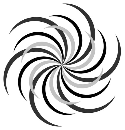 gyration: Abstract radial spiral, twirl or swirl element. Rotating radiating lines. Abstract monochrome vector element. Illustration