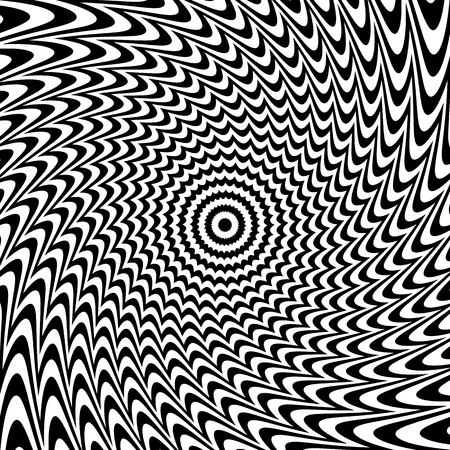 gyration: Alternating black and white lines with circular, spiral distortion. Abstract monochrome background. Editable vector.