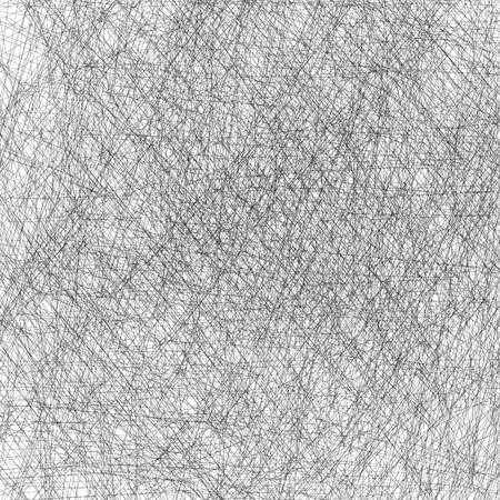 Black and white scratches vector texture with random thin, intersecting lines. Editable.
