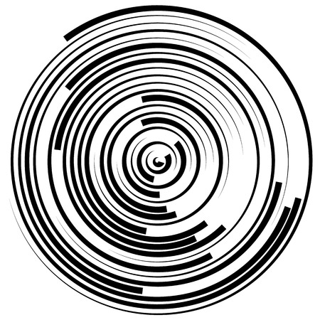 segmented: Swirly concentric, segmented circles. Abstract vector illustration