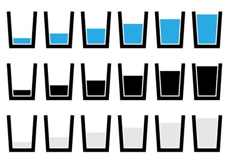 vasos de agua: símbolos de vidrio soluble, pictogramas - Vacío, medio, de vidrio lleno de agua. Vectores