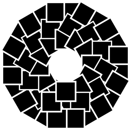 Abstract circular element with overlapping square shapes