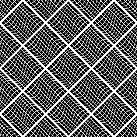 distorted: Mosaic background with distorted tiles of squares. Abstract monochrome pattern. Seamlessly repeatable. vector