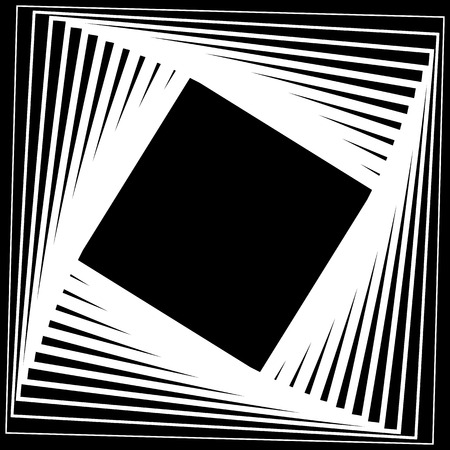 twisting: Abstract, monochrome background with twisting, rotating squares. Vector.