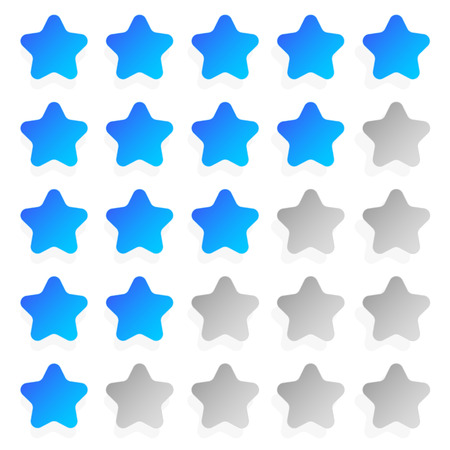 classify: Star rating template with 5 stars. Quality, product, service review, user experience concepts.