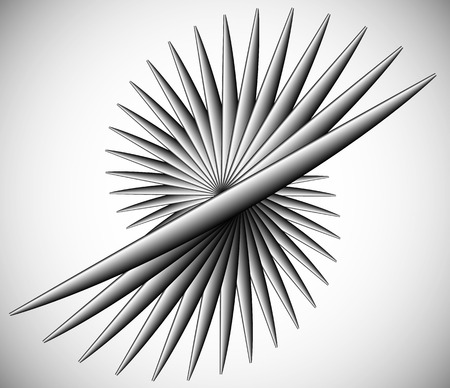 spiky: Pointed rotating lines. Spiky abstract element. Monochrome vector illustration