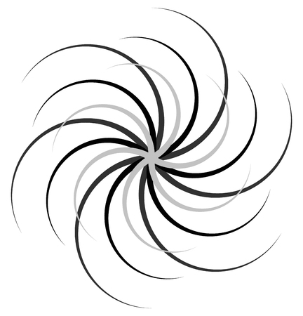 curl whirlpool: Abstract radial spiral, twirl or swirl element. Rotating radiating lines. Abstract monochrome vector element. Illustration