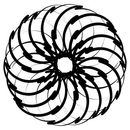 spirograph: Spirograph pattern like rotating spiral, vortex shape. Abstract monochrome element.