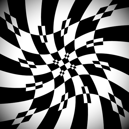 Abstract monochrome background with distortion, deformation effect. Vector Illustration