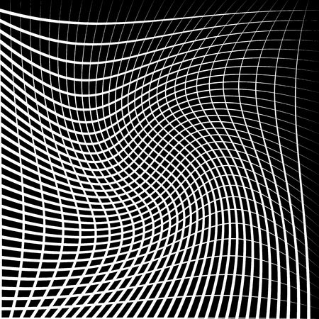 twirling: Abstract grid, mesh with twirling, rotating distortion effect. Intersecting lines monochrome vector pattern. Illustration