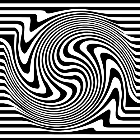 distortion: Abstract monochrome vector with distortion, deformation effect.