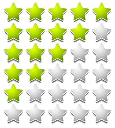 customer service icon: Star rating template from initial zero to 5 stars.