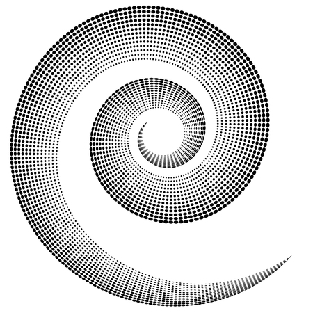 Spiral shape dotted, monochrome motif. Editable vector.