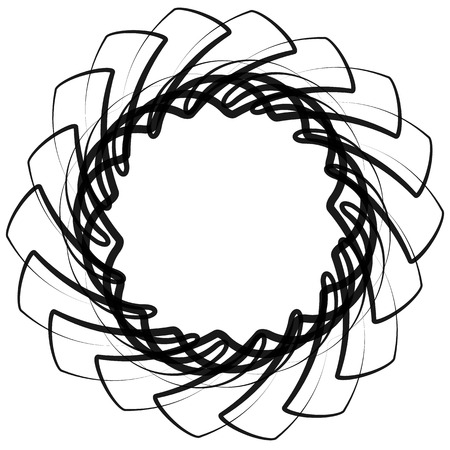 intersecting: Monochrome spirograph element with intersecting lines. Abstract vector shape. Illustration