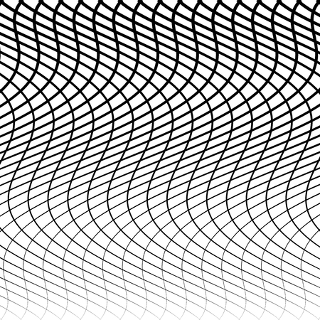 crisscross: Abstract grid, mesh of wavy, distorted lines pattern. Black and white, monochrome vector texture.