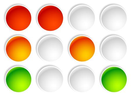 traffic control: Traffic light, traffic lamp, semaphore leds on white. Illustration