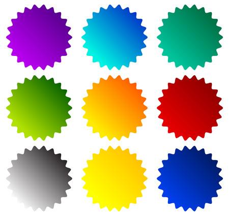estrellas moradas: formas insignia, starburst, precios de flash. Ilustración del vector.