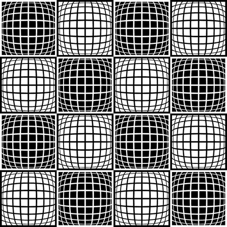 Mosaic background with distorted tiles of squares. Abstract monochrome pattern. Seamlessly repeatable. vector