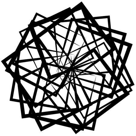 twirling: Abstract spirograph like shape with rotating squares, monochrome twirling design element Illustration