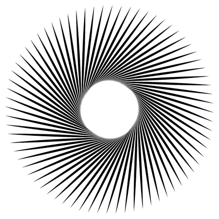 spiky: Radiating, radial lines with spiral, vortex effect. Rotating spiky, pointed lines. Abstract vector element. Illustration