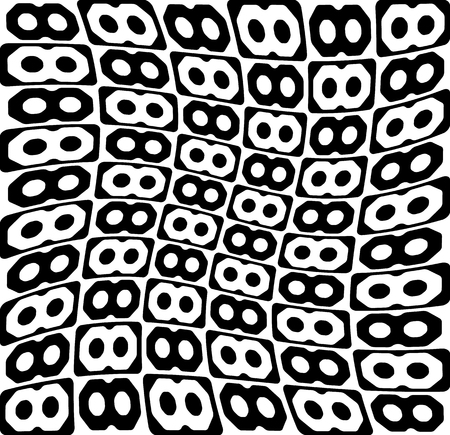 eyestrain: Abstract monochrome pattern, background with connected octagon shapes. Illustration