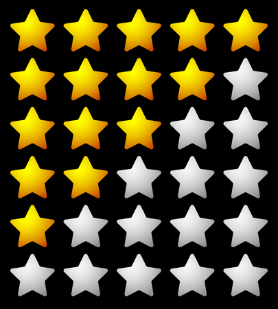 three points: Star rating template from initial zero to 5 stars.
