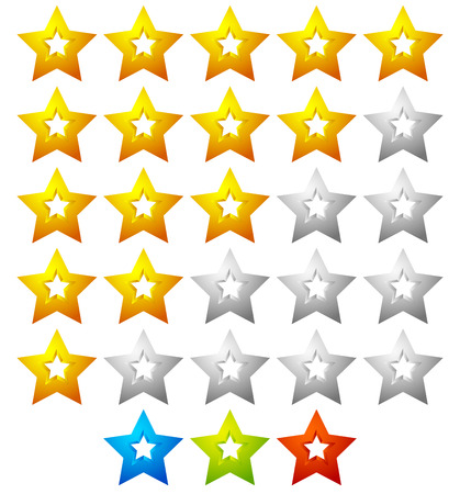 bad service: Star rating template with 5 stars. Quality, product, service review, user experience concepts.