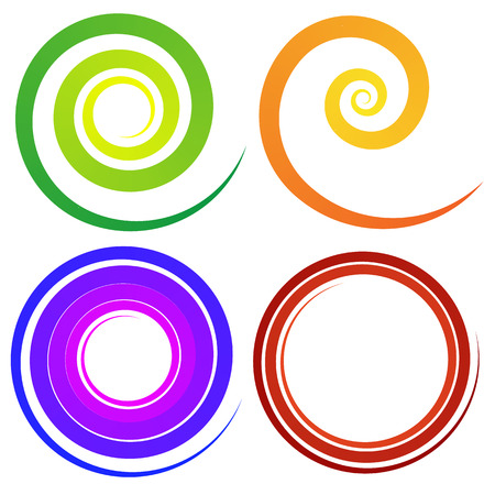 whorl: Curly spiral shapes. Colorful design elements. Vector.