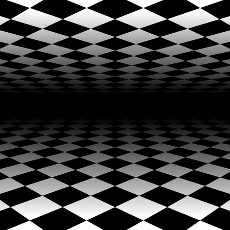 white tile: Vanishing checkered surface. 3d surface in perspective. Vector background. Illustration