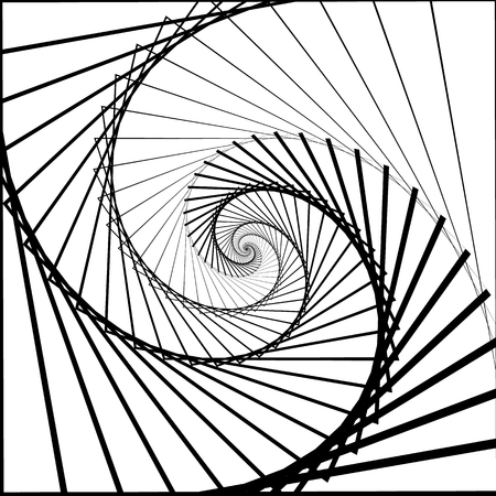 inward: Inward rotating, spirally squares abstract monochrome background Illustration