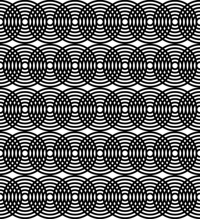 Abstract monochrome pattern with concentric circles. Seamlessly repeatable Illustration