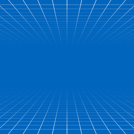 Fading and vanishing grid, mesh 3d abstract background Illustration