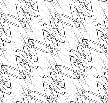 intersecting: Abstract seamless background  pattern with squiggly lines. Monochrome repeatable vector texture.