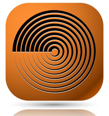 generic: Generic icon with cyclic, circular concentric lines symbol Illustration