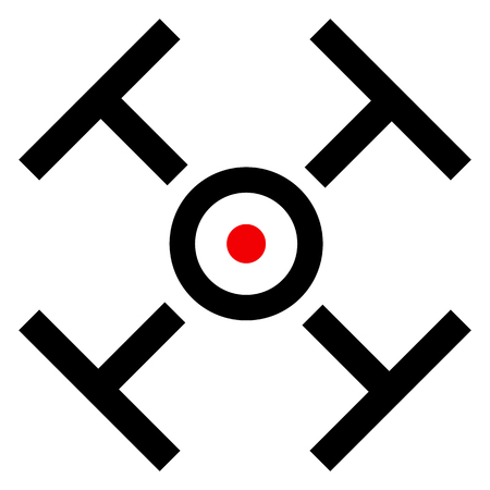 marksmanship: Cross hair, target mark symbol with red dot isolated on white.