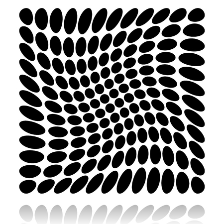 distortion: Grid of circles with distortion, deformation effect. Illustration