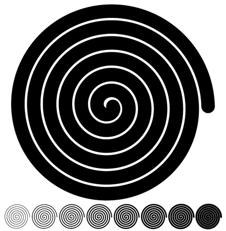 arithmetic: Archimedean, arithmetic abstract spiral set on white Illustration