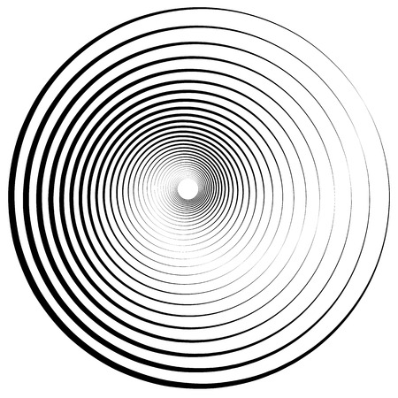 Radiating, concentric circles abstract monochrome vector graphic Vector Illustration