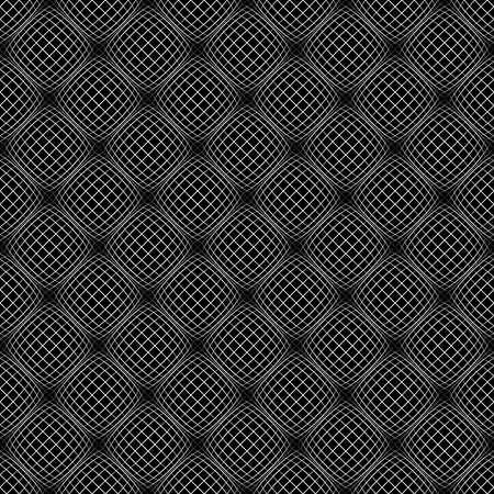 Abstract grid pattern with distorted squares of lines. Abstract repeatable monochrome background. Illustration