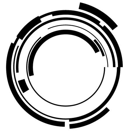 Abstract hi-tech segmented geometric circle shape isolated on white