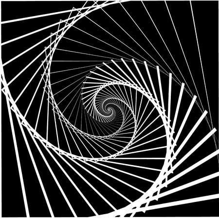 rotating: Inward rotating, spirally squares abstract monochrome background Illustration