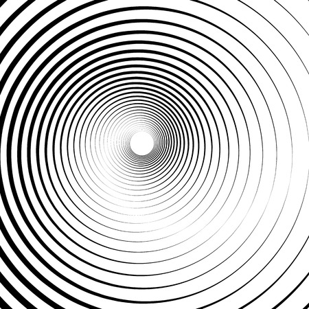 radiating: Radiating, concentric circles abstract monochrome vector graphic
