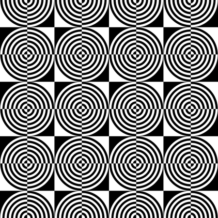 circulos concentricos: Abstract monochrome pattern with concentric circles. Seamlessly repeatable Vectores