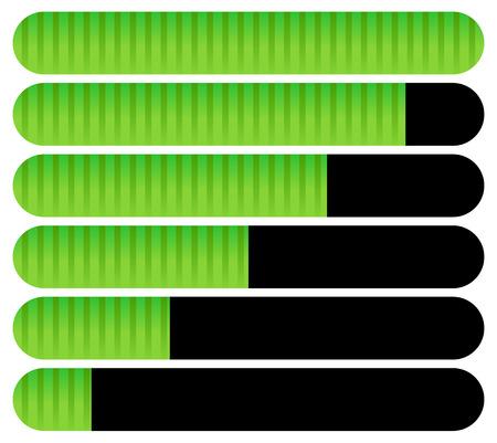 completion: Horizontal bars. Loading bars, progress indicators. Completion.