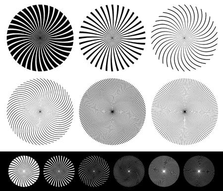 converging: Twisted starburst, converging lines element set. Vector.